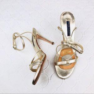 Ralph Lauren Collection Gold Strappy Heels 7.5